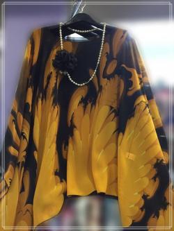 Handkerchief Chiffon Blouse Free Size สีเหลืองปนดำคลาสิก