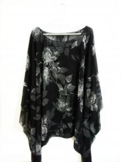Handkerchief Chiffon Blouse Free Size ลายดอกดำเทา