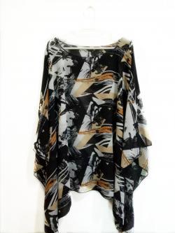 Handkerchief Chiffon Blouse Free Size กราฟิกสีดำปนน้ำตาล