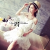Lady Ribbon's Made Lady Natasha Summery Chic Off-Shoulder Heart-Shaped Lace Dress