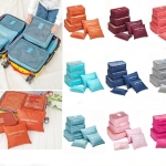 ชุดเซตกระเป๋าจัดระเบียบ ในกระเป๋าเดินทาง 1 Set 6 ใบ แบบเรียบๆ คุ้มสุดๆ เหมาะสำหรับเดินทาง
