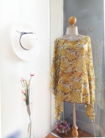 Handkerchief Chiffon Blouse Free Size ใบไม้สีเหลือง