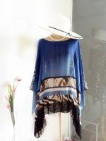 Handkerchief Chiffon Blouse Free Size สีน้ำเงินลายเชิงเสือ