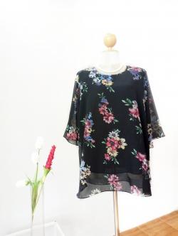 เสื้อชีฟอง Size 44 สีดำลายดอก