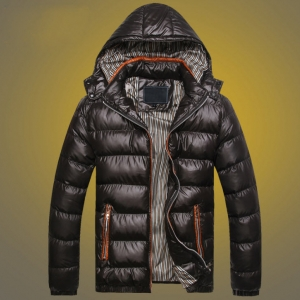พร้อมส่ง เสื้อกันหนาวผู้ชาย สีดำ มีฮู้ด ถอดออกได้ แต่งซับในลาย แขนยาว ใส่กันหนาว