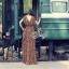 (ส่งฟรี EMS) Sevy Hi-End Leopard V-Neck Open Leg Maxi Dress thumbnail 2