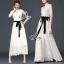 (ส่งฟรี EMS) Sevy Solid Off White Lace Maxi Dress With Velvet Ribbon thumbnail 2