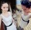 (ส่งฟรี EMS) Sevy Solid Off White Lace Maxi Dress With Velvet Ribbon thumbnail 3