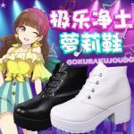 รองเท้าคอสเพลย์หญิงแฟชั่น Gokuraku Jodo แนวรองเท้าบูทส้นสูง