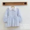 ชุดเดรสเด็ก แขนยาว ปกคอบัว สีฟ้า (S M L XL)