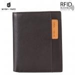 SEVEN WAYO กระเป๋าสตางค์ผู้ชายหนังแท้ RFID Blocking กระเป๋าสตางค์ใบสั้น แนวตั้ง สีน้ำตาล กระเป๋าเงิน กระเป๋าถือ SW01-Brown