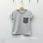 เสื้อยืดเด็กลายริ้ว สีเทา (S M L)