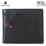 SEVEN WAYO กระเป๋าสตางค์ผู้ชายหนังแท้ RFID Blocking กระเป๋าสตางค์ใบสั้น แนวนอน สีดำ กระเป๋าเงิน กระเป๋าถือ SW02-Black