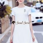 White Flossy Cotton Flex Dress