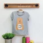 เสื้อยืดเด็ก ลายหมี สีเทา(S M L)
