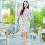เดรสชุดกั๊กผ้า Hanako สีม่วงแต่งโบว์ ตัวชุดเป็นผ้าไหมญี่ปุ่นพื้นสีเหลืองทอลายกุลาบ