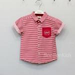 เสื้อเชิ๊ตแขนสั้นเด็ก ลายขวาง สีแดง-ขาว (S M L XL)