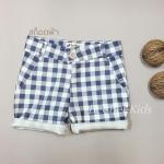 กางเกงสามส่วนเด็ก ลายตาราง สีฟ้า(S M L)