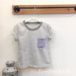 เสื้อยืดเด็ก สีเทา กระเป๋าริ้ว(S M L)