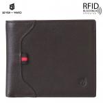 SEVEN WAYO กระเป๋าสตางค์ผู้ชายหนังแท้ RFID Blocking กระเป๋าสตางค์ใบสั้น แนวนอน สีน้ำตาล กระเป๋าเงิน กระเป๋าถือ SW02-Brown
