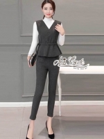 Aris Code Gray Wool Pants Set