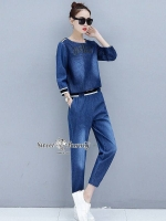 Indigo Denim Jogger Set