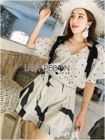 Lady Chrissy Summer Polka-Dot Ribbon Chiffon Blouse with High-Waist Shorts Set