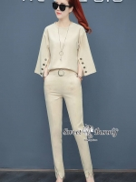 Frill-Crape Shirt With Pants Set สีครีม