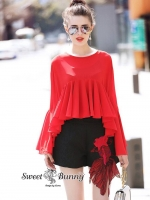 Red Blouse With Goldfish Short Set