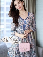 Aris Code Lady Bright blue pink chiffon dress