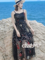 White Line Dress With Black Fancy Stripes ดำ
