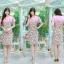 XL,3XL,5XL ชุดเดรสสาวอวบ++ผ้า Sanfox พื้นขาว ทอลายดอกชมพู จุดเด่นของชุดนี้ตัดต่อด้านบน และแขนด้วยผ้า Hanako สีชมพู thumbnail 4