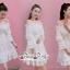 White Shoulder Dress Cutting Sewing Twist thumbnail 3