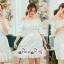 White Shoulder Dress Cutting Sewing Twist thumbnail 2