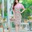 XL,3XL,5XL ชุดเดรสสาวอวบ++ผ้า Sanfox พื้นขาว ทอลายดอกชมพู จุดเด่นของชุดนี้ตัดต่อด้านบน และแขนด้วยผ้า Hanako สีชมพู thumbnail 2