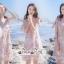 Mini Lace Dress Erin Off Shoulder Black&Cream Tulle Korea ครีมชมพู thumbnail 6