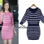 Mail stripe knit dress by Sweet Bunny สี กรม thumbnail 2
