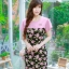 XL, 5XL ชุดเดรสสาวอวบ++ผ้า Sanfox พื้นดำ ทอลายดอกชมพู จุดเด่นของชุดนี้ตัดต่อด้านบน และแขนด้วยผ้า Hanako สีชมพู thumbnail 3