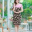 XL, 5XL ชุดเดรสสาวอวบ++ผ้า Sanfox พื้นดำ ทอลายดอกชมพู จุดเด่นของชุดนี้ตัดต่อด้านบน และแขนด้วยผ้า Hanako สีชมพู thumbnail 1