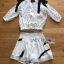 Lady Chrissy Summer Polka-Dot Ribbon Chiffon Blouse with High-Waist Shorts Set thumbnail 6