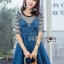 🎀 Lady Ribbon's Made 🎀Lady Anna Street Chic Striped T-Shirt with Denim Dress thumbnail 1