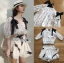 Lady Chrissy Summer Polka-Dot Ribbon Chiffon Blouse with High-Waist Shorts Set thumbnail 5