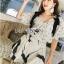 Lady Chrissy Summer Polka-Dot Ribbon Chiffon Blouse with High-Waist Shorts Set thumbnail 1