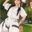 Lady Chrissy Summer Polka-Dot Ribbon Chiffon Blouse with High-Waist Shorts Set thumbnail 4