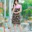 XL, 5XL ชุดเดรสสาวอวบ++ผ้า Sanfox พื้นดำ ทอลายดอกชมพู จุดเด่นของชุดนี้ตัดต่อด้านบน และแขนด้วยผ้า Hanako สีชมพู thumbnail 2