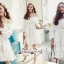White Shoulder Dress Cutting Sewing Twist thumbnail 5