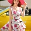 Seoul Secret Say's... Coral Pink-Red Sosy Rose Print Dress thumbnail 4