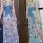 เดรสสายเดี่ยวลายสับปะรด ดีไซน์คอวีป้าย ผ่าหน้ายาวสวย สีฟ้า thumbnail 2