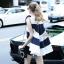 Korea Design By Lavida fashionista white & blue striped top short pants chic set thumbnail 2