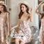 Mini Lace Dress Erin Off Shoulder Black&Cream Tulle Korea ครีมชมพู thumbnail 2